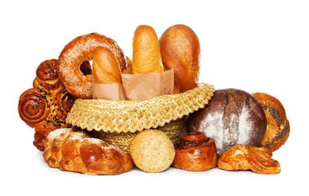 Assortment of bread isolated on white photo