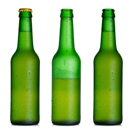 alcohol bottles: Beer bottle closed, half-full and opened Stock Photo