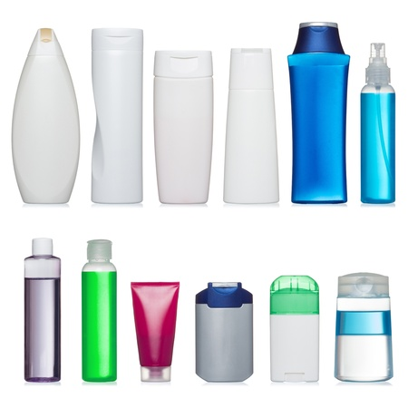 moisturiser: Set of plastic bottles. Scale and and proportion saved. Isolated on white. Stock Photo