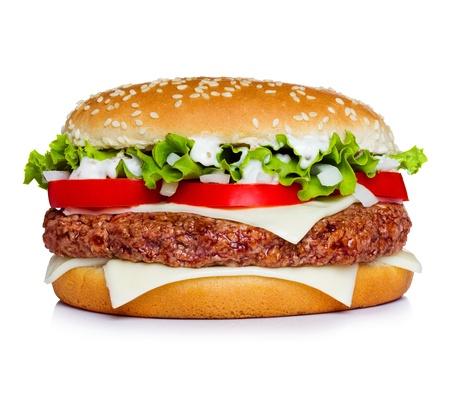 all in: Hamburguesa aislada en blanco. Todo en foco.