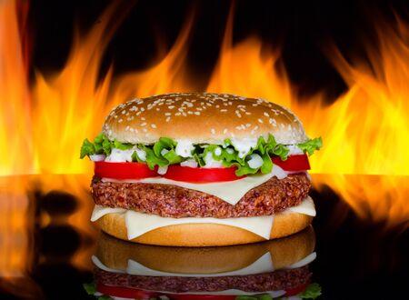 Hamburger with fire photo