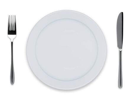 dinner plate: Empty dinner plate with knife and fork isolated on white Stock Photo