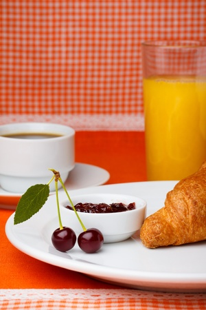 coffee jelly: Breakfast with croissant, coffee and juice
