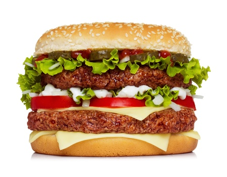 Big hamburger isolated on white