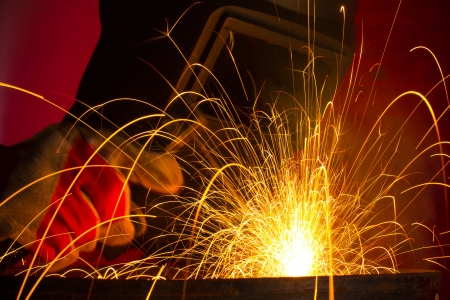 welding metal: Welding with sparks Stock Photo
