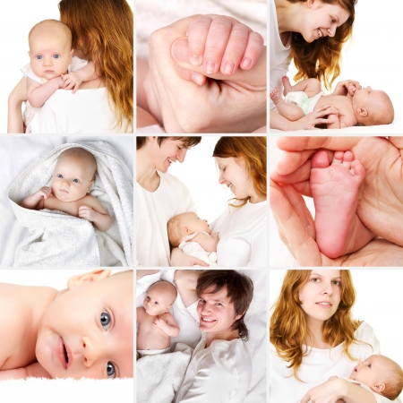 Beautiful newborn baby with parents collage