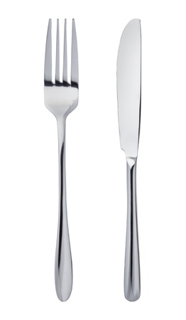 Knife and fork isolated on white background Imagens