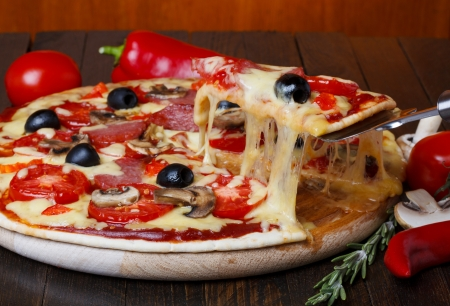 hot pizza with melting cheese