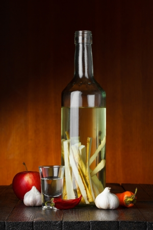 horseradish: Herbal and spices flavored vodka Stock Photo