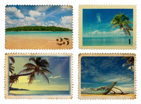 島と熱帯のヤシのビンテージ郵便切手 写真素材
