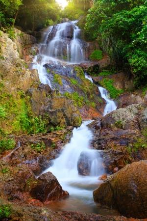 na: Waterfall in tropical jungle, Na Muang, Koh Samui Stock Photo