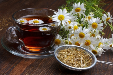 chamomile tea: Chamomile tea and dried flowers on wooden table Stock Photo