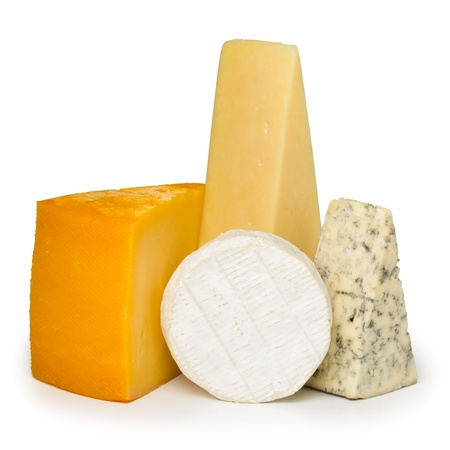 Assortment of different cheese types isolated on white background Stock Photo