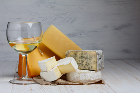 parmesan cheese: Wine and cheese with copy space