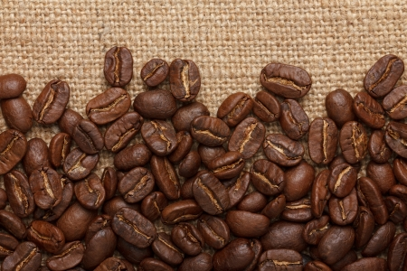 coffee sack: Coffee beans on sack background