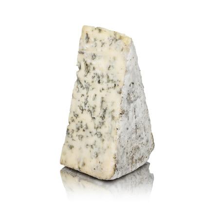 Blue cheese isolated on white with reflection