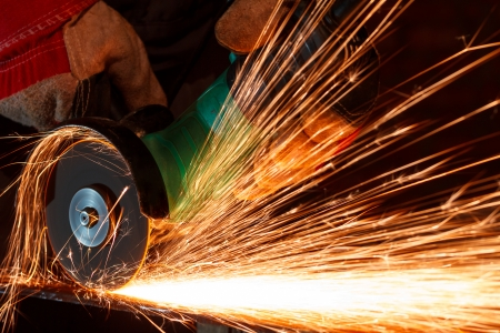 grinding: Grinding iron with sparks