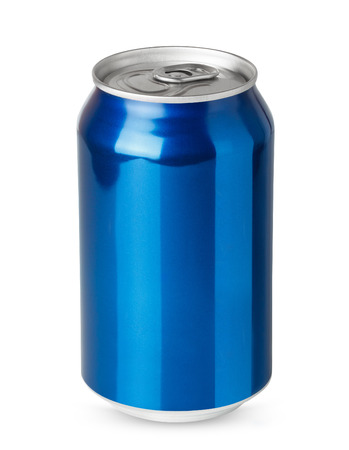 Blue aluminum can isolated on white background Stock Photo