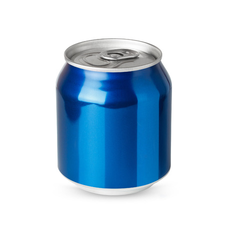Small blue aluminum can isolated on white background photo