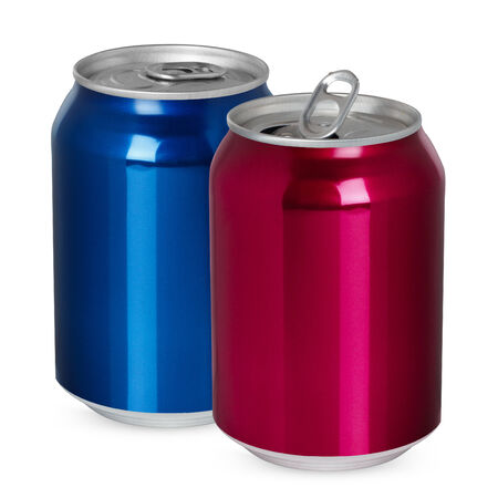 Two aluminum cans, open and closed, isolated on white photo