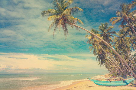 fisher: Wooden boats under palm trees on tropical beach, vintage stylized Stock Photo