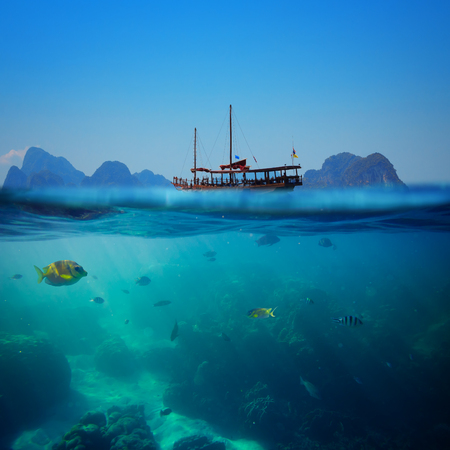 sea bottom: Tropical underwater shot splitted with ship and sky