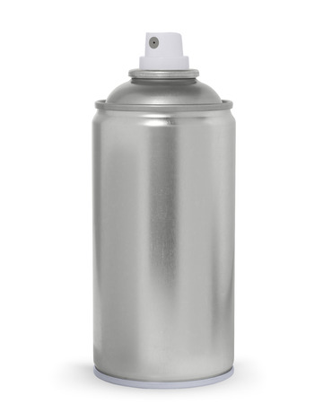 Blank metal spray can, isolated on white  photo