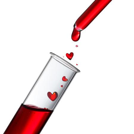 Bloed of liefdesdrank druppels in warmte vorm van glazen pipet naar buis, donor of liefde concept te testen