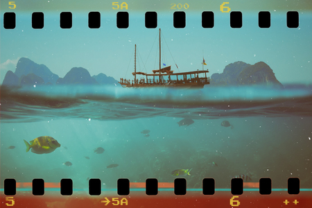 Tropical underwater shot splitted with ship and sky, vintage stylized photo