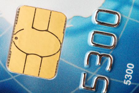 chip and pin: Credit card chip macro Stock Photo