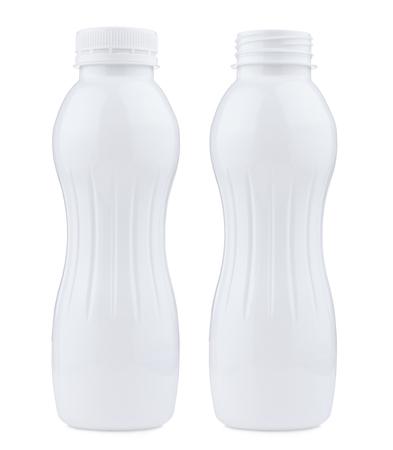 plastico pet: Botella de plástico cerrada y abierta, aislado en fondo blanco