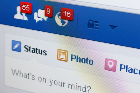 KIEV, UKRAINE - June 8: Facebook web page closeup with notifications of new friends request and messages, and blank status line, in Kiev, Ukraine, on June 8, 2014. Editorial