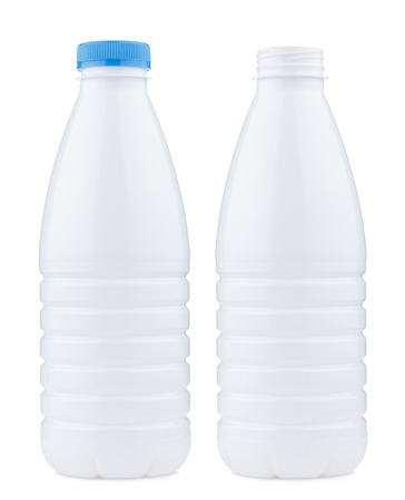 liter: Plastic 1 liter bottle closed and open, isolated on white background