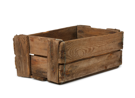 crate: Vintage empty wooden crate isolated on white, all box in focus