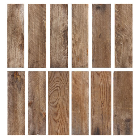 Set of vintage weathered wooden planks isolated on white background Standard-Bild