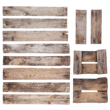 wood cut: Weathered old wooden planks with rustic nails isolated on white background
