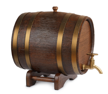 beer barrel: Vintage wooden barrel isolated on white
