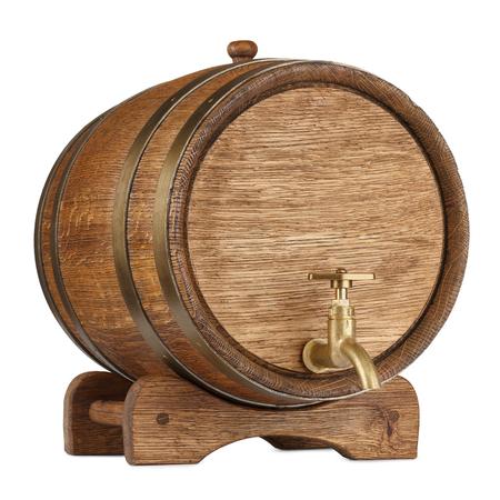 Uitstekend houten vat dat op wit wordt geïsoleerd