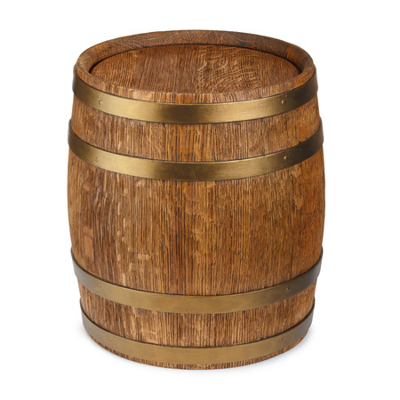 fermenting: Old wooden barrel isolated on white background
