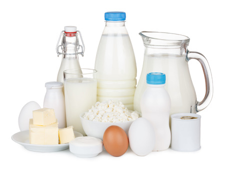 Dairy products isolated on white background photo