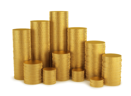 replenishment: Shiny golden coins stack isolated on white background Stock Photo