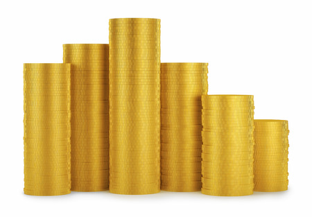 replenishment: Golden coins stack isolated on white background
