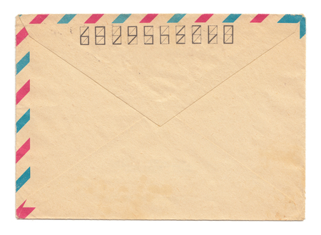 par: Vintage paper envelope back side, closed, isolated on white, par avion