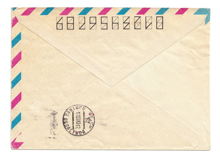 par avion: Vintage USSR envelope with meter stamp, closed, isolated on white Stock Photo