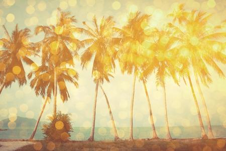 Palmbomen op tropisch strand met gouden partij glamour bokeh overlay, dubbele blootstelling effect gestileerd Stockfoto