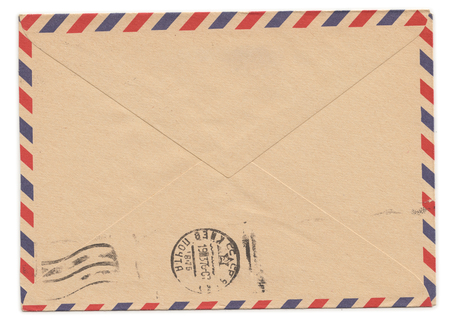 Old paper envelope with meter stamp on rear side