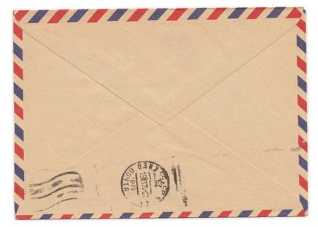 letter envelopes: Sobre de papel viejo con el sello de metros en el lado trasero
