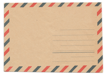 old envelope: Vintage envelope front side, air mail, blank, old yellowed paper, isolated on white