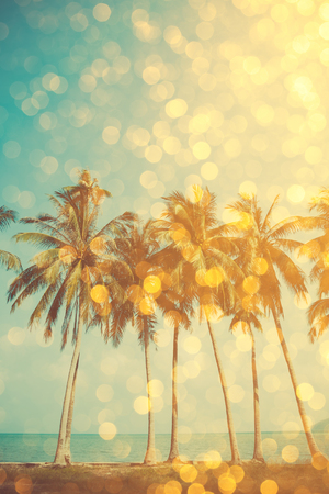 'palm trees': Palm trees on tropical beach with golden party glamour bokeh overlay, double exposure effect stylized
