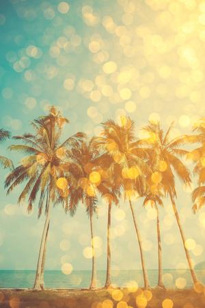 palms: Palmeras en la playa tropical con superposici�n glamour bokeh de oro del partido, el efecto de doble exposici�n estilizado